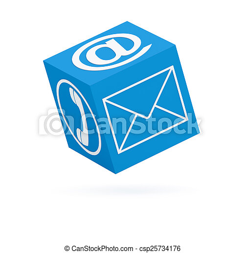 Blue communication cube (isolated) (3D render) - csp25734176