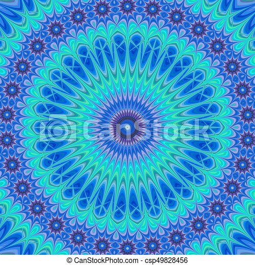 Blue computer generated mandala fractal background - csp49828456