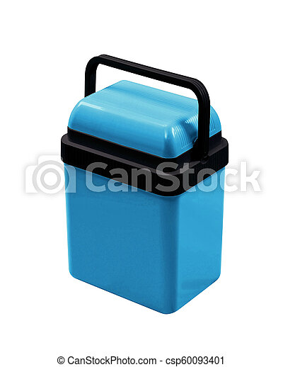 blue cooling box isolated on white background - csp60093401
