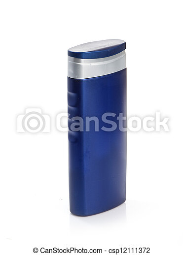 Blue cosmetic bottle isolated on white background - csp12111372