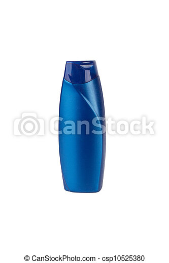 Blue cosmetic bottle isolated on white background - csp10525380