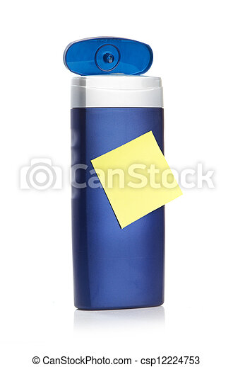 Blue cosmetic bottle isolated on white background - csp12224753