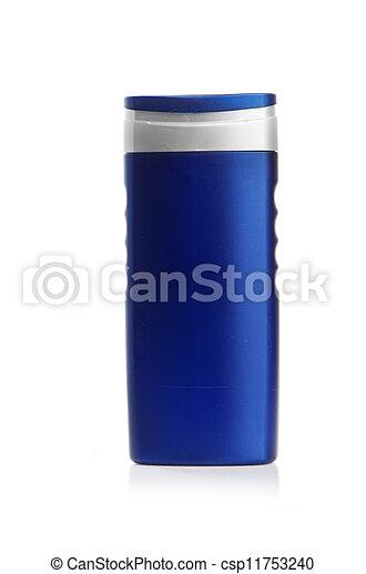Blue cosmetic bottle isolated on white background - csp11753240