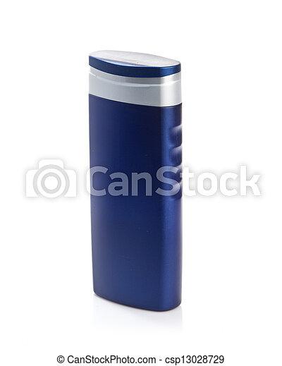 Blue cosmetic bottle isolated on white background - csp13028729