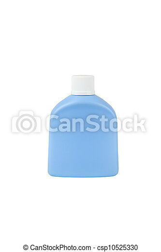Blue cosmetic bottle isolated on white background - csp10525330