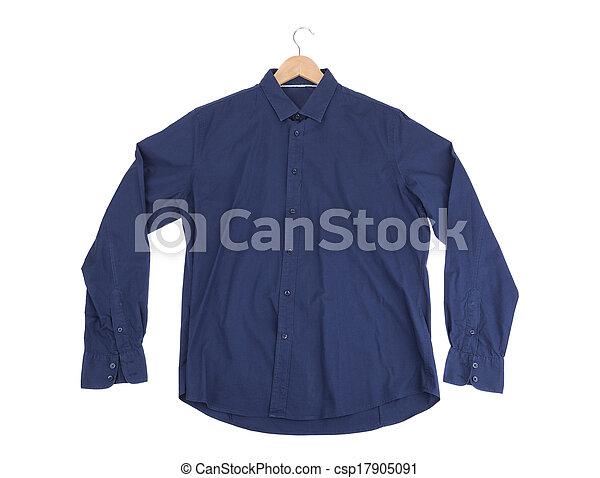 Blue cotton Mens Shirt. On the rack. - csp17905091
