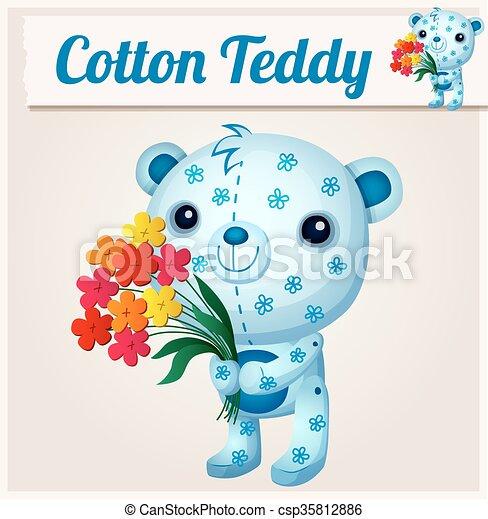 Blue cotton teddy bear. Cartoon vector illustration - csp35812886