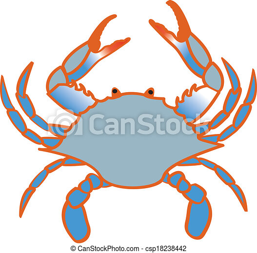 a color line drawing of a chesapeake bay blue crab rh canstockphoto com Blue Crab Graphic blue claw crab clipart