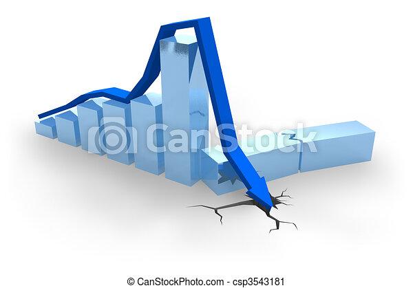 Blue crisis chart  - csp3543181