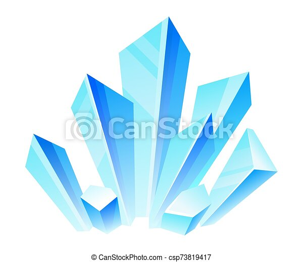 Blue crystals. Vector illustration on a white background. - csp73819417