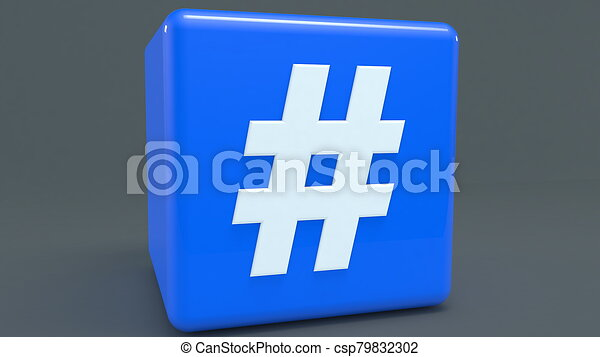 Blue cube with hashtag concept - csp79832302