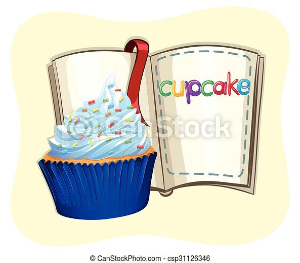 Blue cupcake and a book - csp31126346