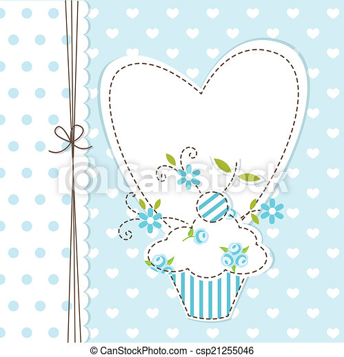 Blue cupcake background - csp21255046