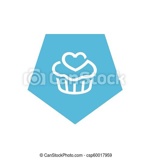 Blue Cupcake Icon, Pentagon Shape Icon Design, Simple Vector Logo Design - csp60017959