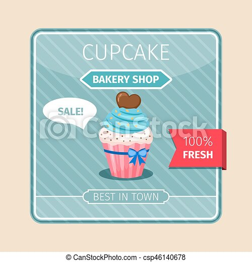 Blue cupcake with chocolate heart card - csp46140678