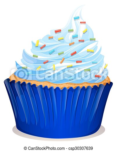 Blue cupcake with frosting - csp30307639