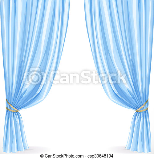 Blue curtain isolated on a white background - csp30648194