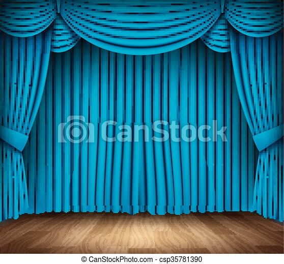 Blue Curtain Of Classical Theater With Wood Floor On Transparent Background