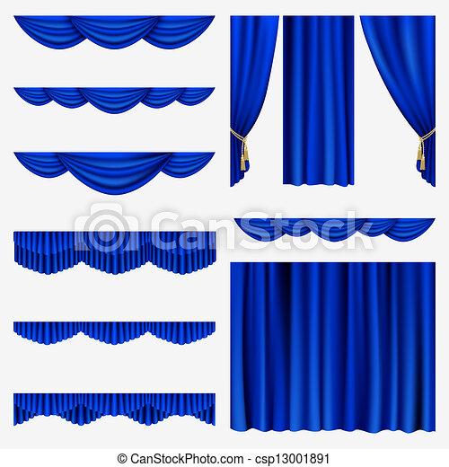 Blue curtains - csp13001891