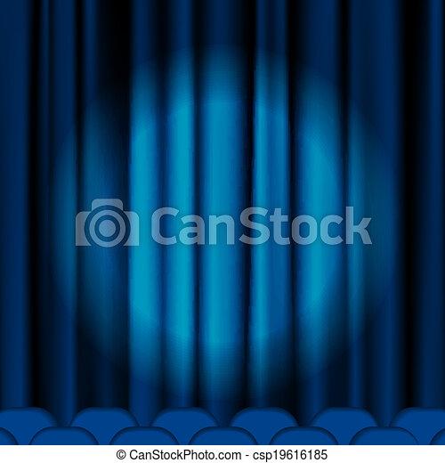 Blue curtains - csp19616185