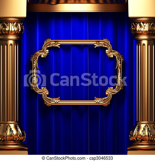 blue curtains, gold columns and frame  - csp3046533