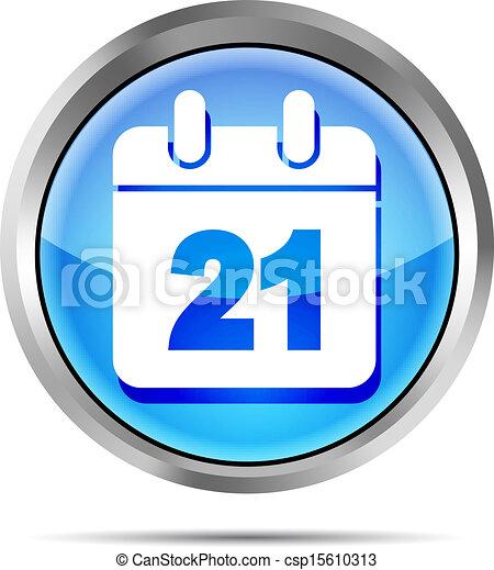 blue date icon on a white backgroun - csp15610313