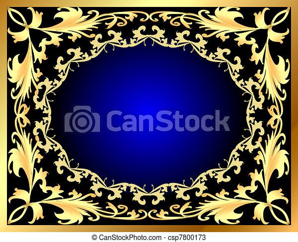 blue decorative background frame with gold(en) pattern - csp7800173