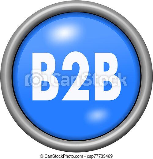 Blue design B2B in round 3D button - csp77733469