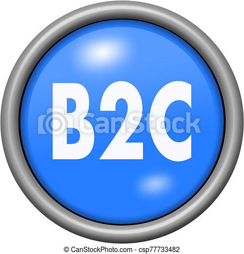 Blue design B2C in round 3D button - csp77733482