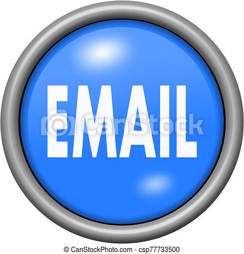 Blue design email in round 3D button - csp77733500