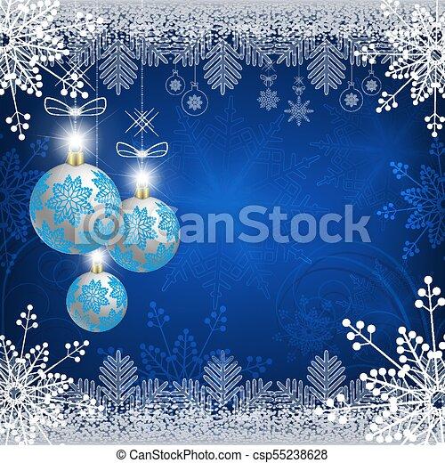 blue design with christmas balls - csp55238628