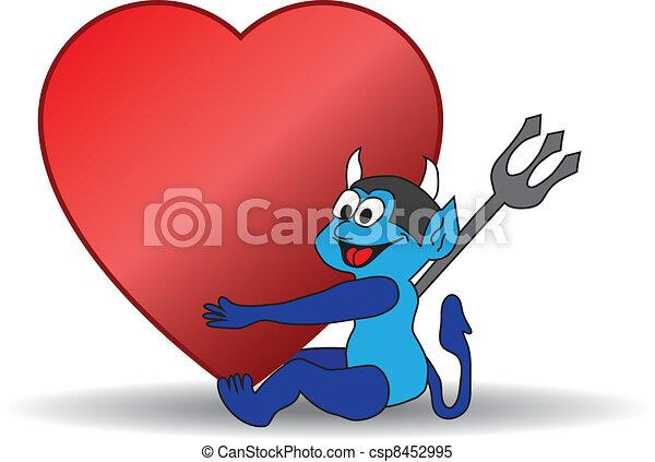 blue devil holding a big Valentine heart - csp8452995