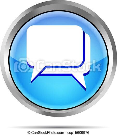 blue dialog icon on a white - csp15609976