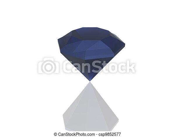 blue diamond isolated on white - csp9852577