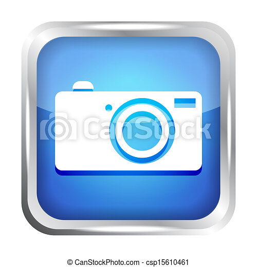 blue digital camera icon button - csp15610461