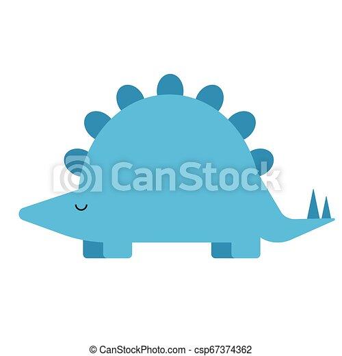 Blue dinosaur flat illustration on white - csp67374362