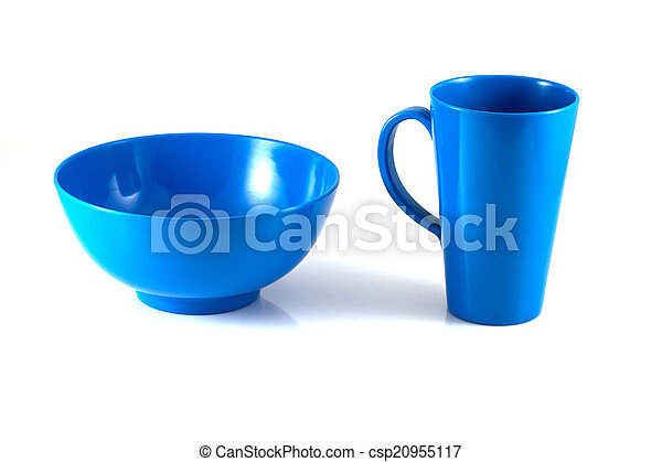 Blue disk and green cup isolate - csp20955117