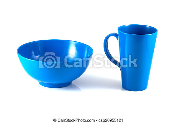 Blue disk and green cup isolate - csp20955121