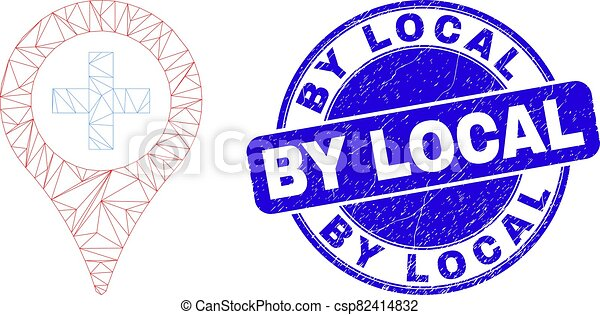 Blue Distress By Local Stamp Seal and Web Mesh Medical Map Marker - csp82414832