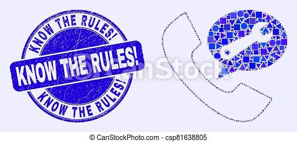 Blue Distress Know the Rules! Stamp Seal and Phone Service Message Mosaic - csp81638805