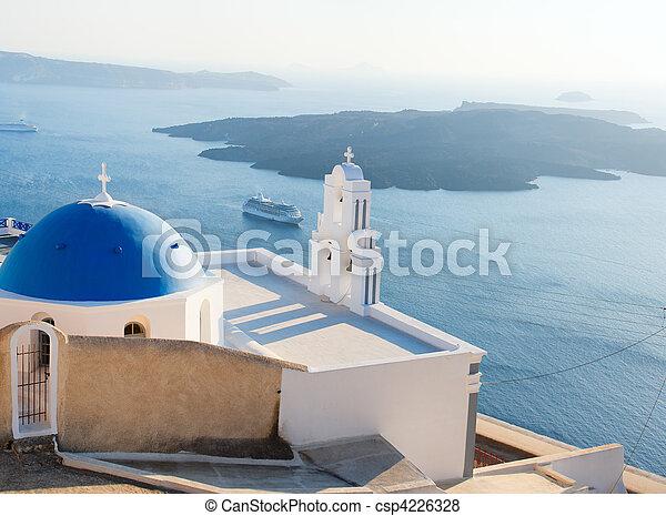 Blue domed church in Santorini - csp4226328