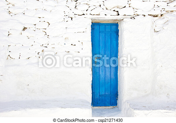 blue door in a greek island of Mykonos - csp21271430