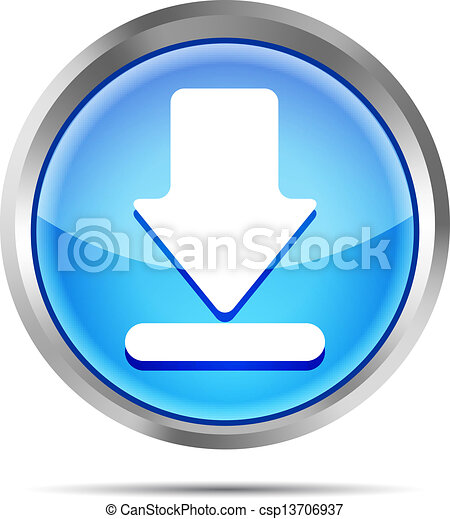 blue download icon on a white - csp13706937