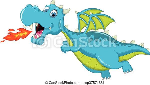 blue dragon cartoon flying - csp37571661
