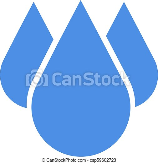 Blue drop icon in flat design. Vector illustration. Drop icon isolated on white background. - csp59602723