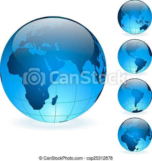 Blue Earth globes vector set isolated on white background. - csp25312878