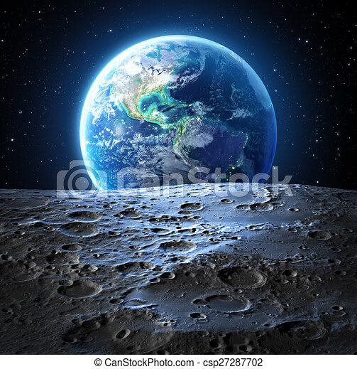 Blue earth view from moon surface - usa stock illustration ...