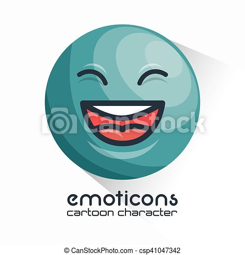 blue emoticon laughing closed eyes icon - csp41047342