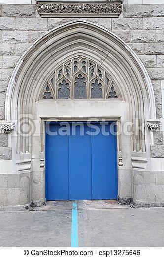 Blue entrance door - csp13275646