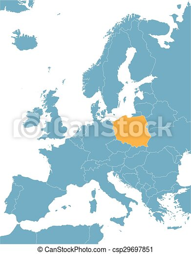 Blue europe vector map with indication of poland clipart vector